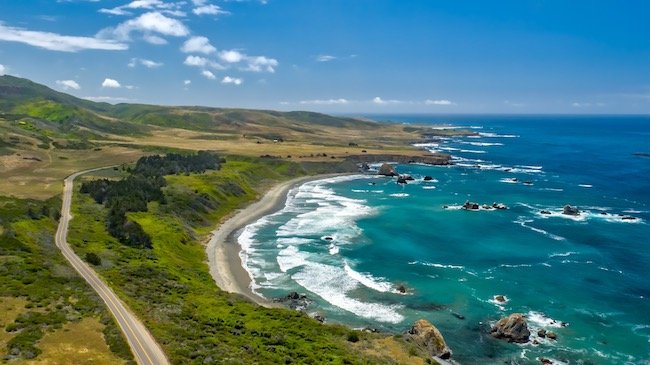 Highway 1 between San Simeon and Ragged Point along the Pacific Ocean. Photo courtesy of Highway 1 Discovery Route