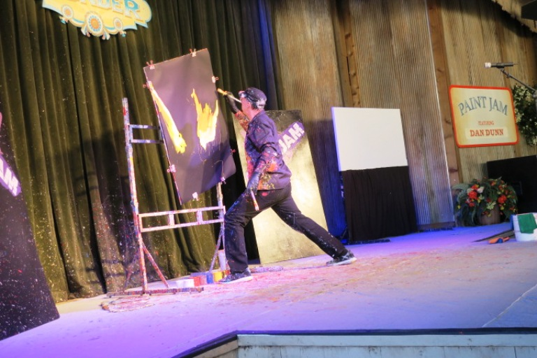 The Speed Painter in Silver Dollar City in Branson, MO is one of its many unusual acts. Photo by Fyllis Hockman