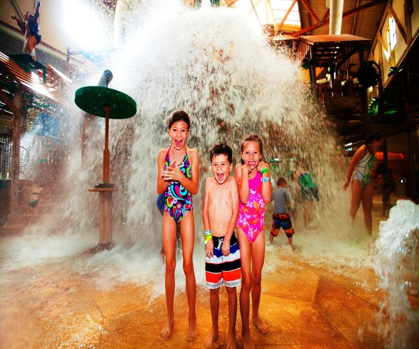 The tipping bucket always comes as a surprise at the Great Wolf Lodge Waterpark. Photo by Great Wolf Lodge