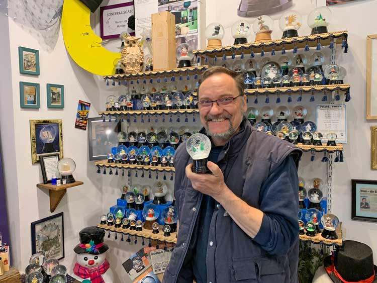 Erwin Perzy III is the grandson of Erwin Perzy I, who invented the snowglobe.