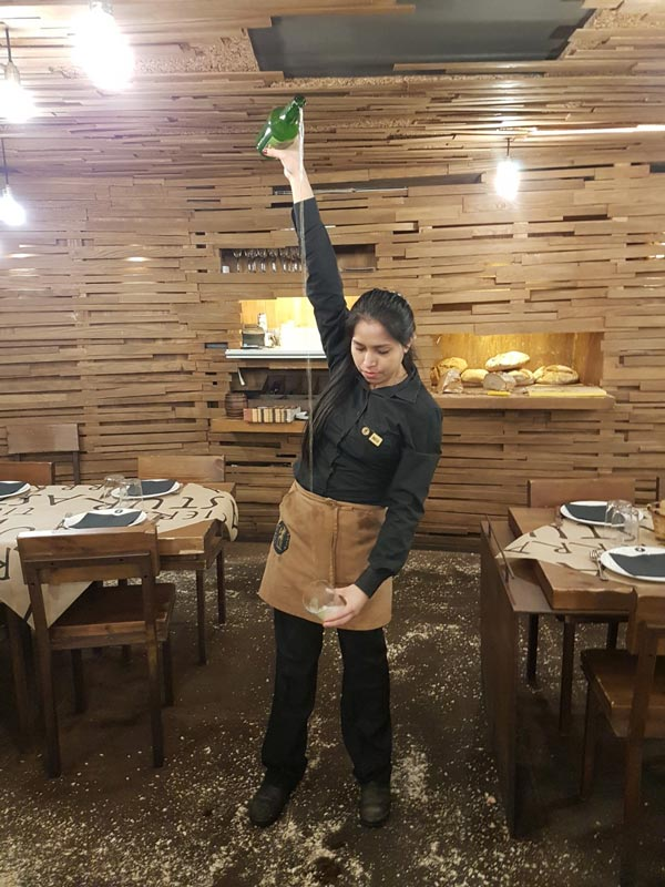 Pouring cider in an Aviles restaurant