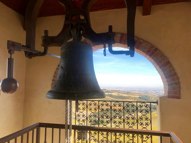 Atop the bell tower where a ringing of the bell signals harvest time. Photo by Claudia Carbone