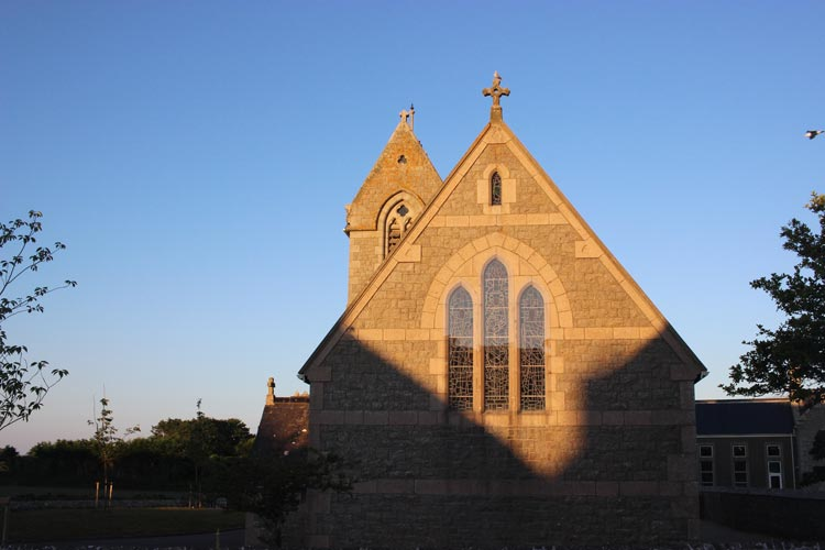 Striking shadow patterns on St George's Church, St Ouen