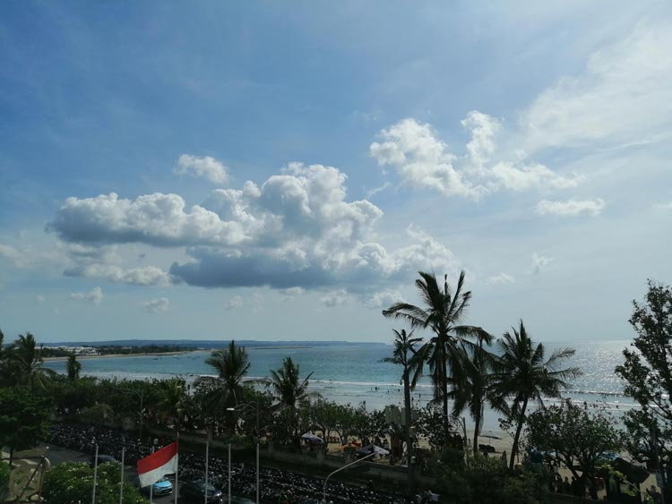 Views over busy Kuta Beach