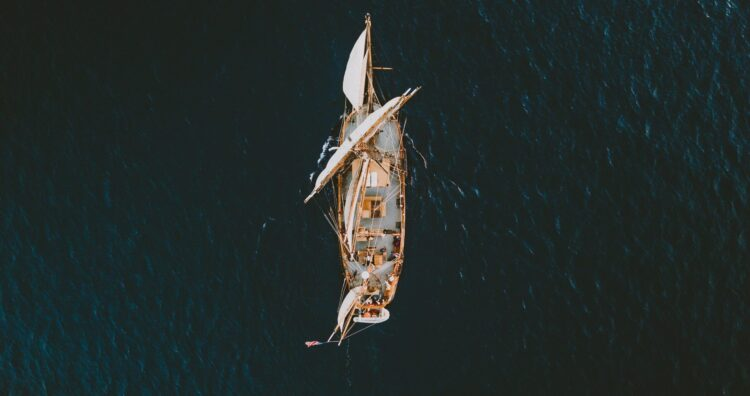 A pirate ship tour boat from above.