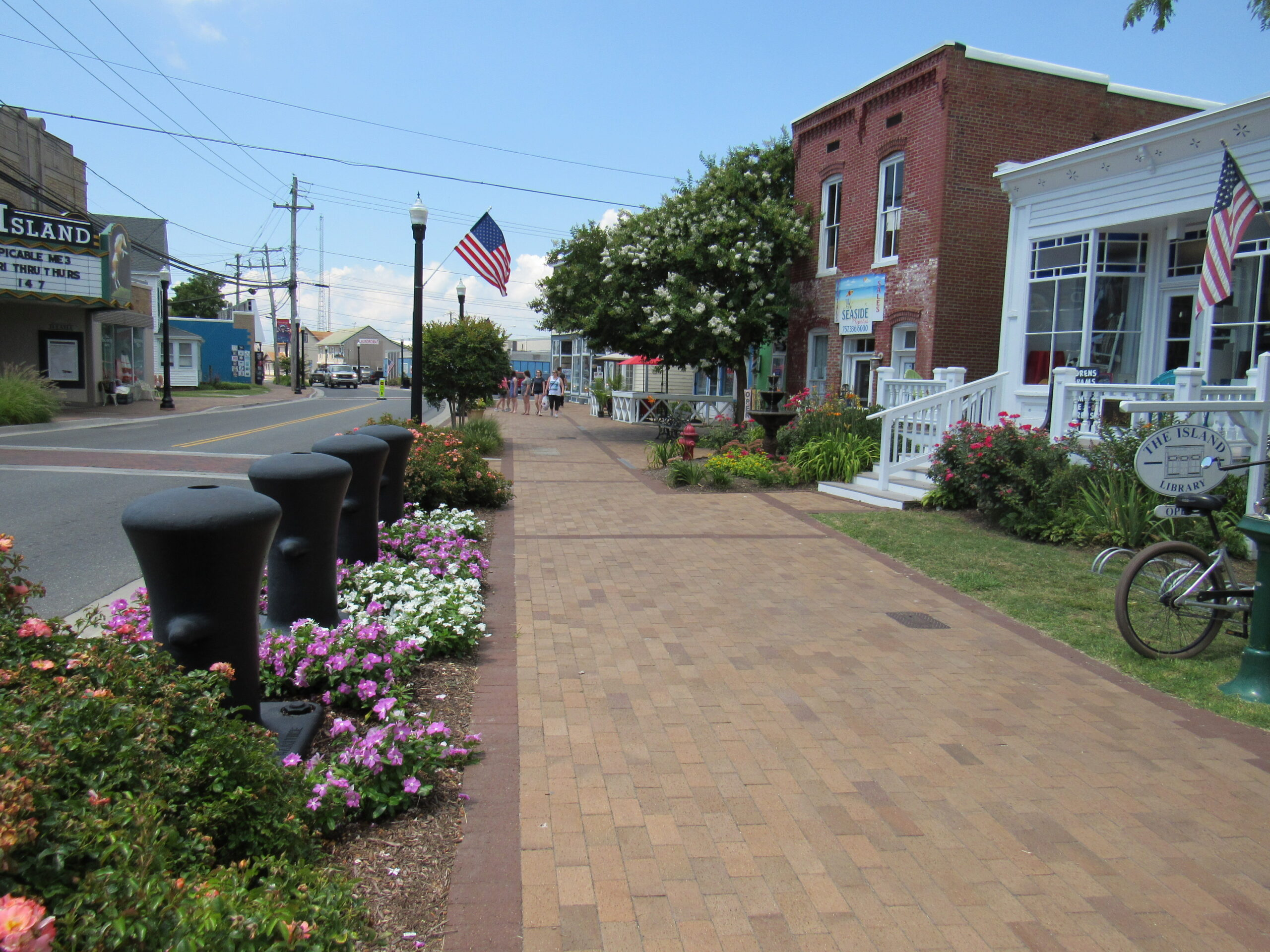 Historical buildings line the street in downtown Chincoteague.