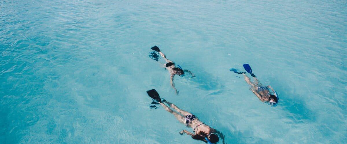 Snorkeling toward a ship.