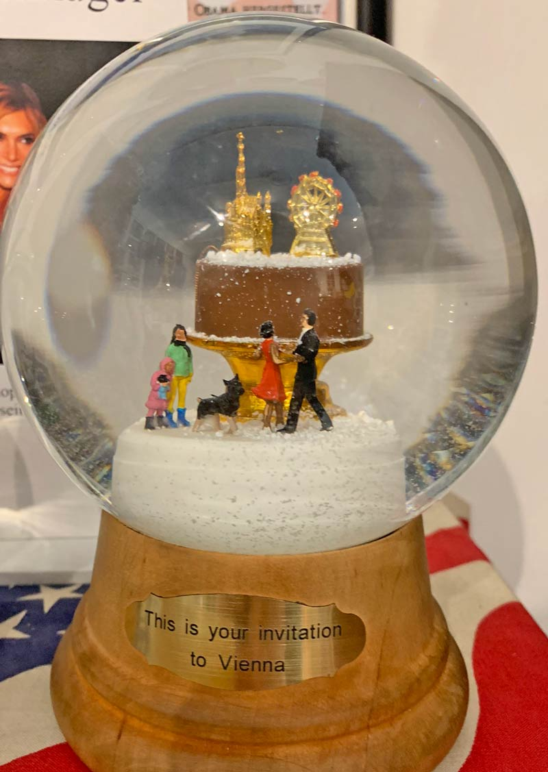 A custom snow globe created for the Obama family.