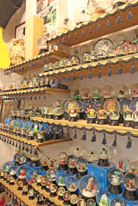 Snow globes for sale at the Original Snowglobe Factory in Vienna, Austria