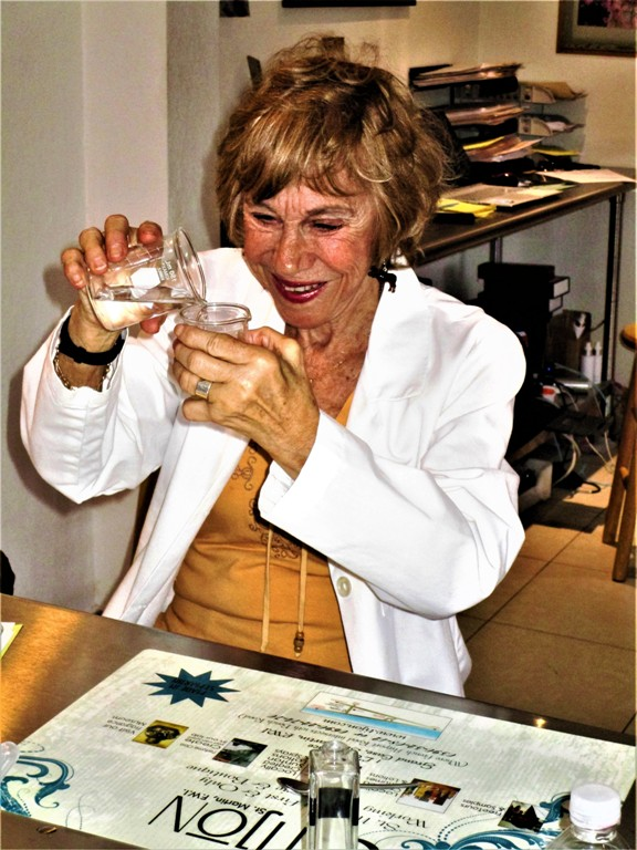 The author channeling the role of Chemist at Tijon's Parfumerie on the island of St. Martin. Photo by Victor Block