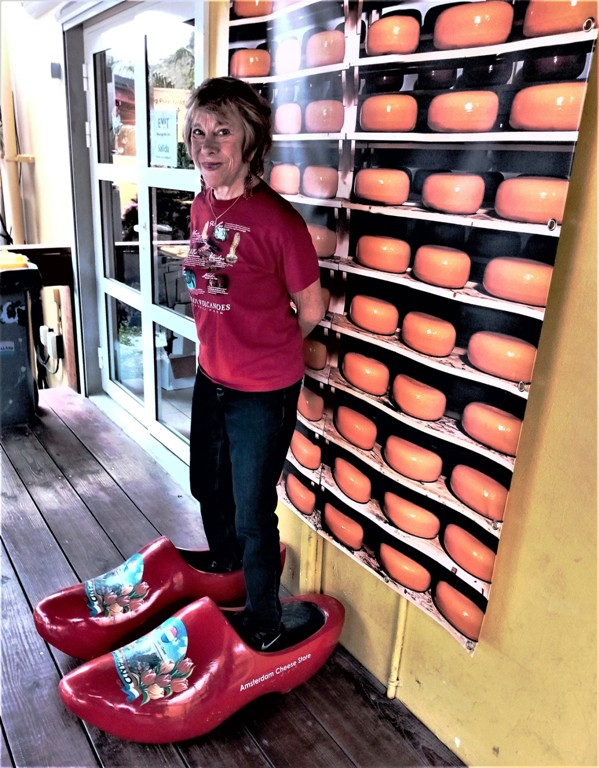 A huge pair of clogs welcomes visitors to the Amsterdam Cheese Store on Sint Maarten. Photo by Victor Block