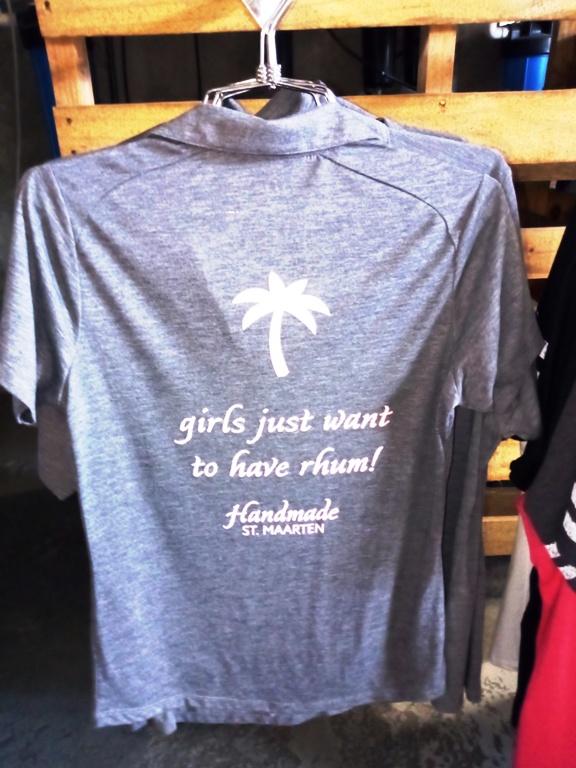 Fun t-shirts entertain visitors in between shots at Topper's Rhum Distillery on the Caribbean island of Sint Maarten