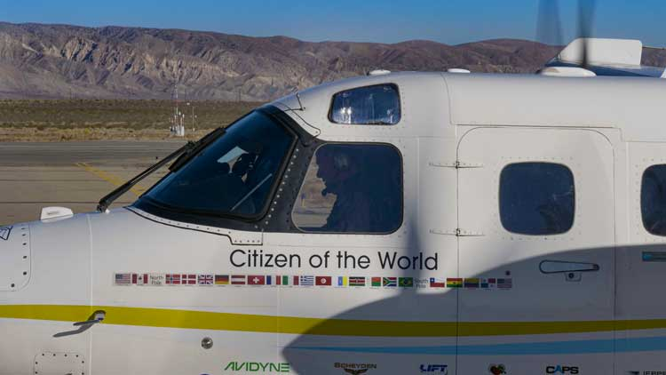 "Pilot Robert DeLaurentis named his plane, ""Citizen of the World."""