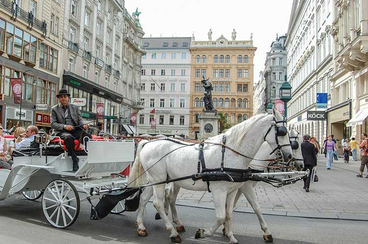 Fiaker (horse-drawn carriages) are a common sight in Vienna's First District.