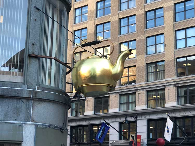This giant tea kettle in Boston was created in the 1870s to advertise the Oriental Tea Company. Photo by Kim Foley MacKinnon