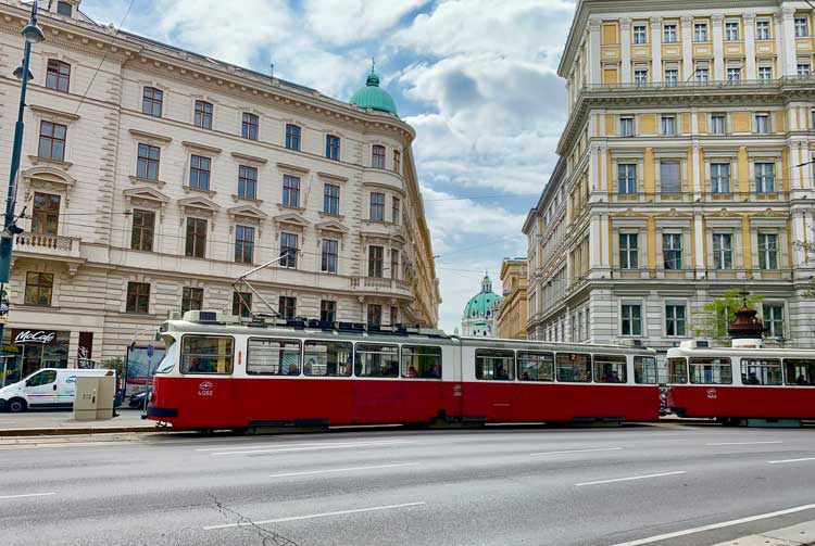 A red streetcar in the First District of Vienna