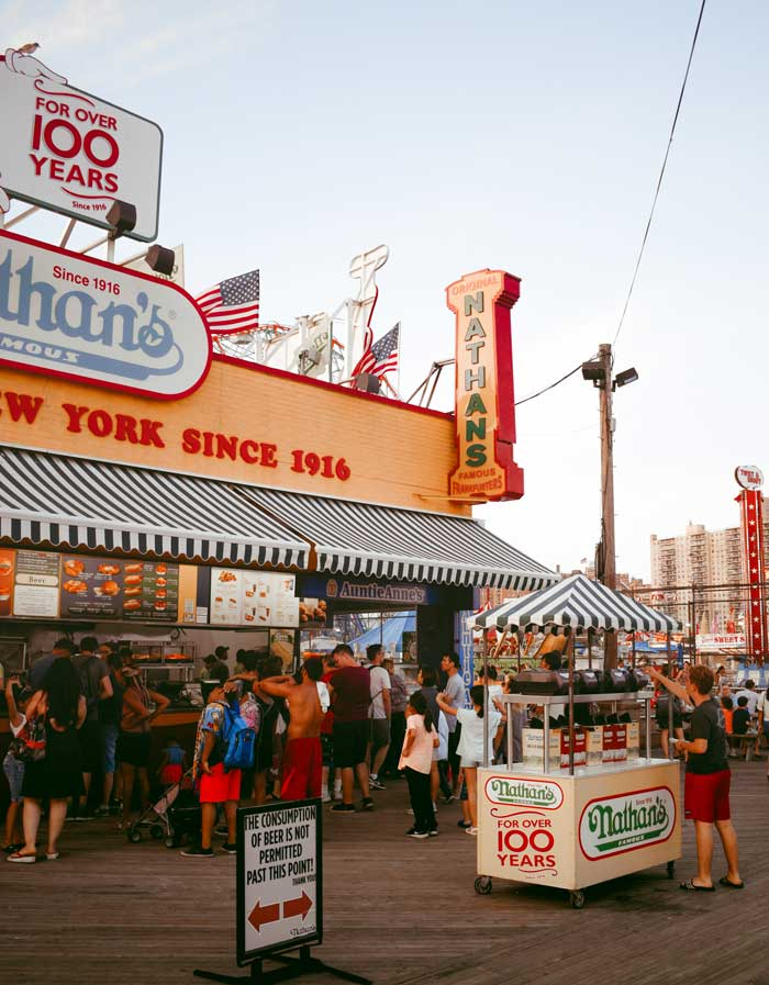 Nathan's Coney Island Hot Dogs is iconic New York City classic.