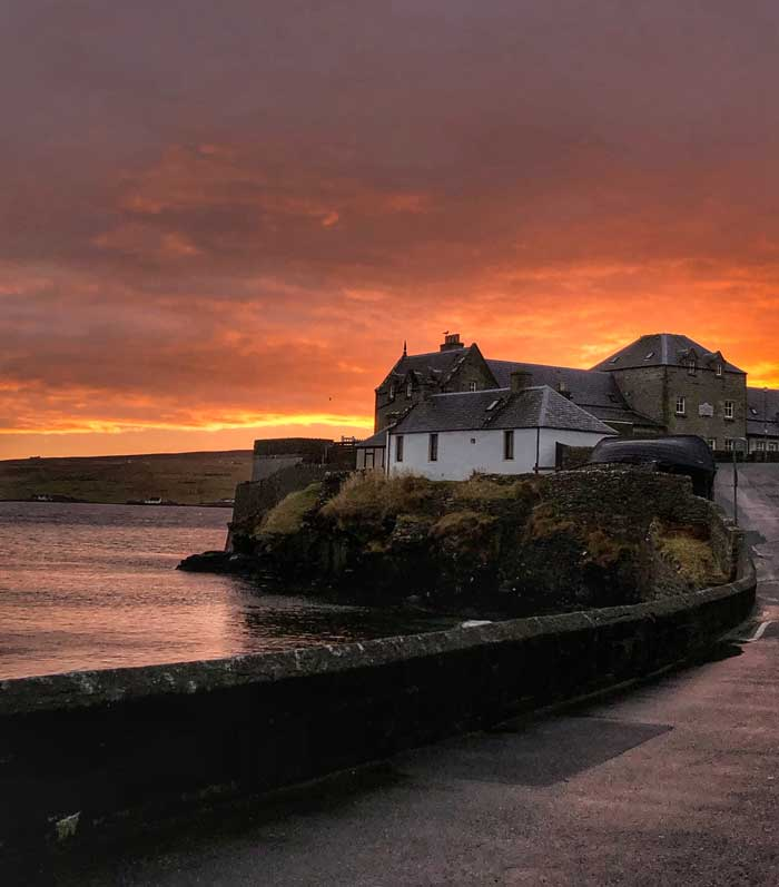 Spectacular sunsets across the skies of the Shetland Islands Scotland
