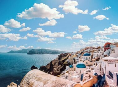 Beautiful view of blue ocean under the sky in Santorini, Greece