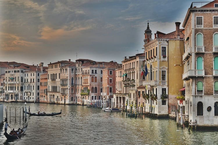 Boats are romaing around on grand canal, venice, Italy