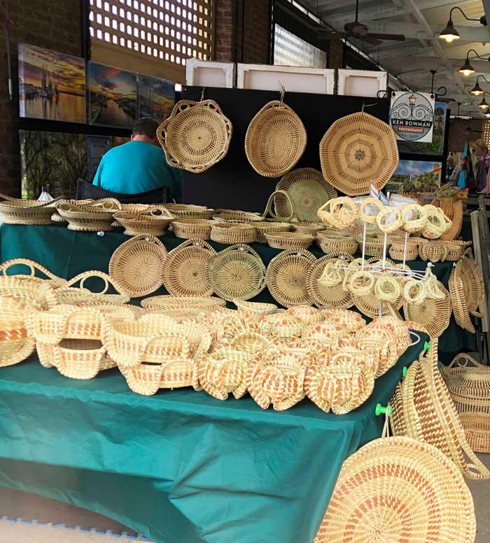 Sweetgrass baskets at Charleston City Market.