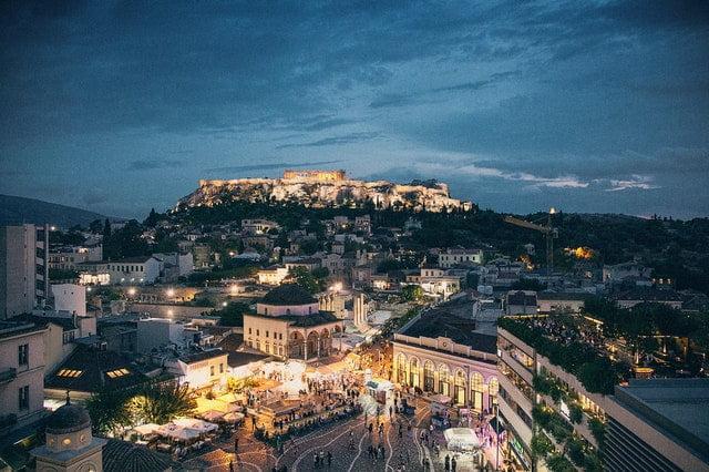 Athens, Greece at night