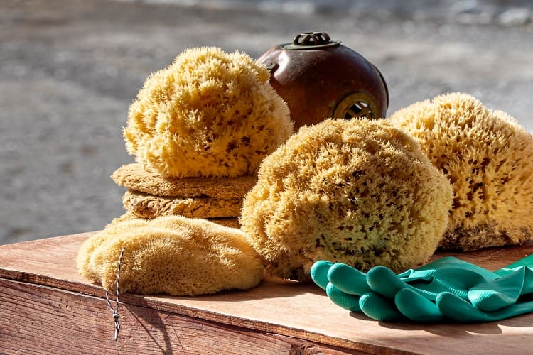 Shopping for sponges in Symi, Greece