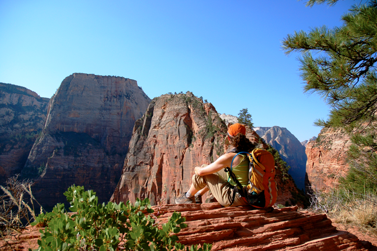 A hiker looks out over Zion National Park in Utah. Photo courtesy of Zion National Park