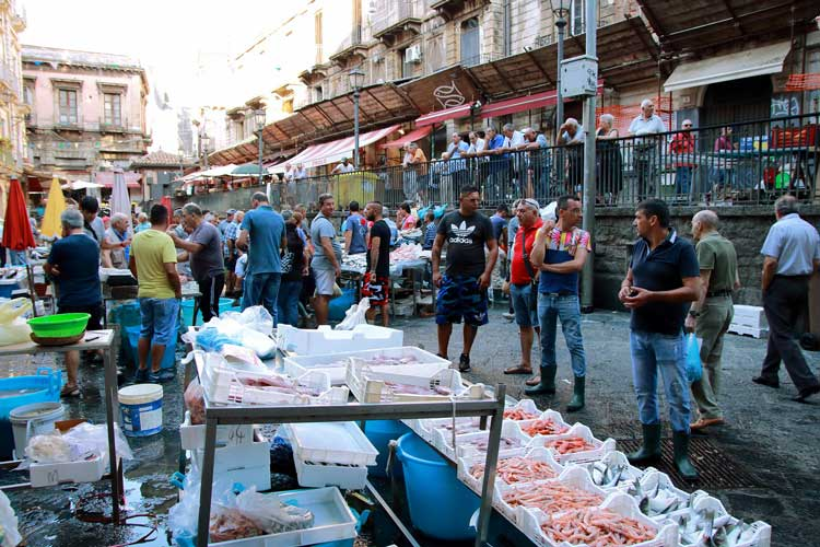 Stalls at Catania Fish Market in Sicily