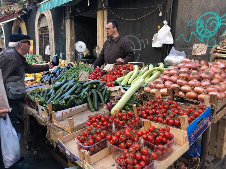 The open air markets in Sicily are a daily shopping ritual for locals   Photo Credit: Sharon Kurtz