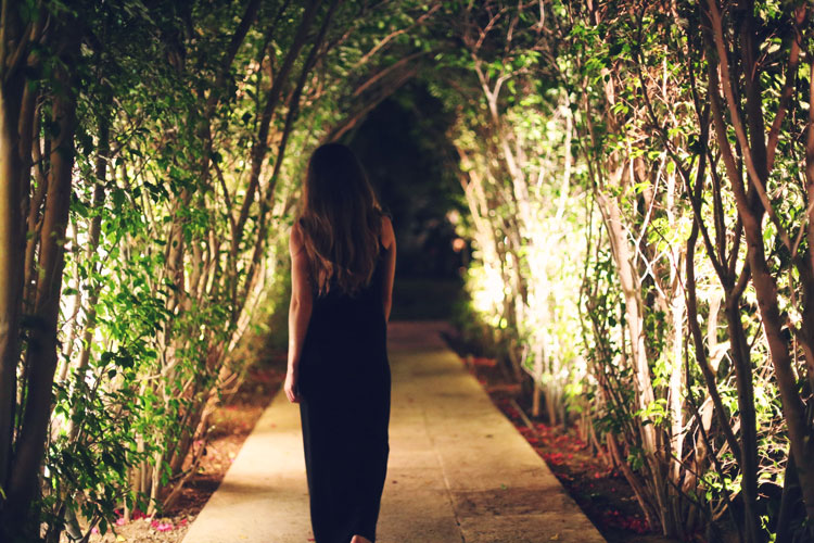 An evening stroll through the relaxing resort grounds, filled with island plants.