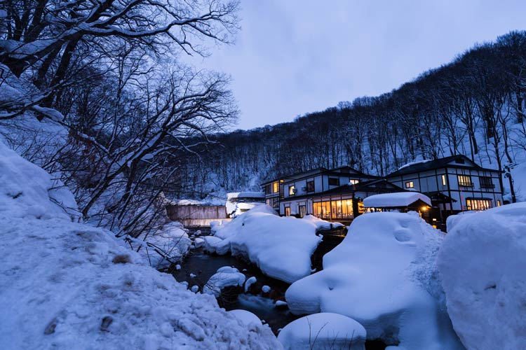 The Onsen hot springs in the Akita Prefecture in Japan.