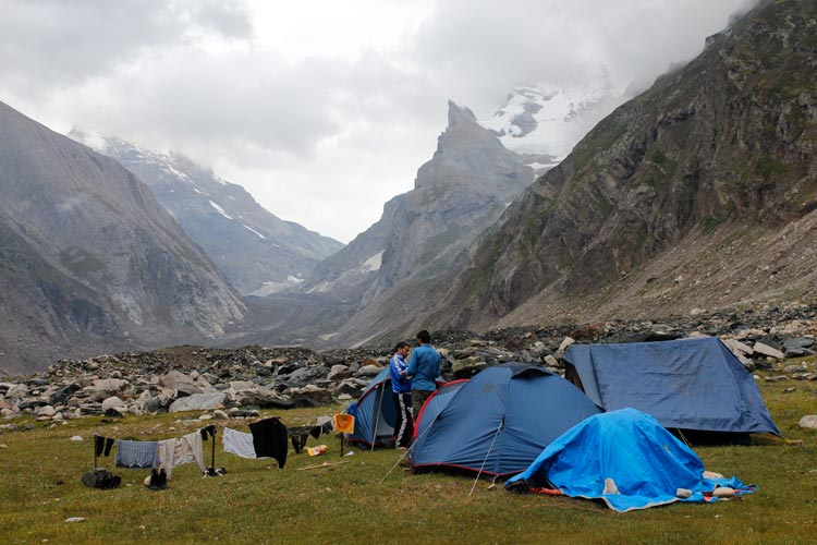 The last camping spot on Kishtwar site before the final ascent of Sagar Nur glacier. This place is called  Kanital. The foot of Sagar Nur glacier is visible in the background.