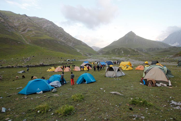A view of the camping site in Gadsar valley during Great Lakes Trek in Kashmir.