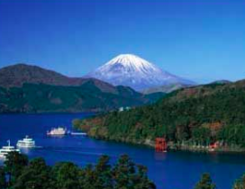 Lakeside with Mt. Fuji in the background in Japan.