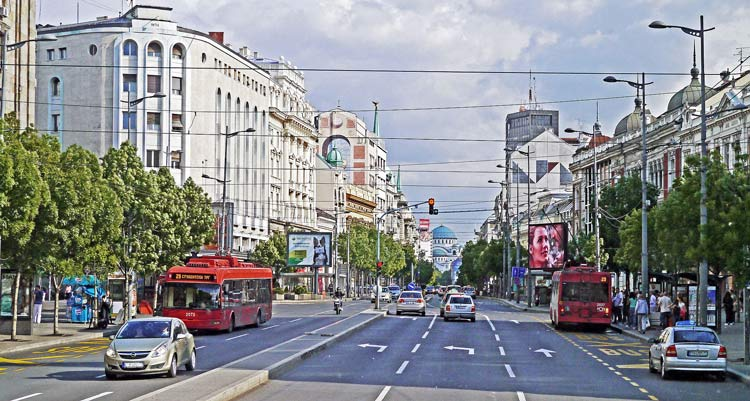 Main street leading to Capitol building in central area of Belgrade.
