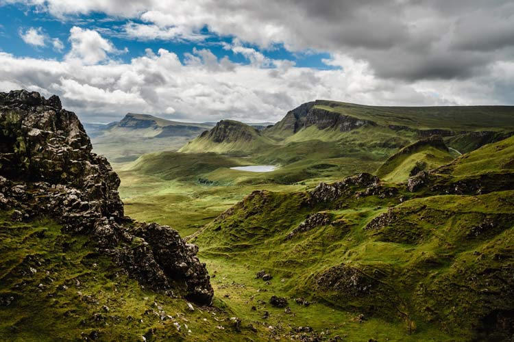 The lush cliffs and valleys on the Isle of Skye, Scotland.