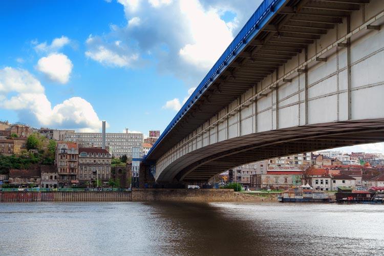 The bridge over the Sava River providing access to Ada Ciganlija.