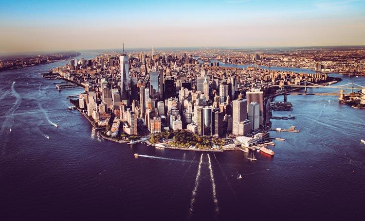 An aerial view of Manhattan, a busy New York City borough.