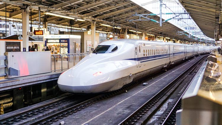 A bullet train getting ready to depart from Tokyo Station, Japan.