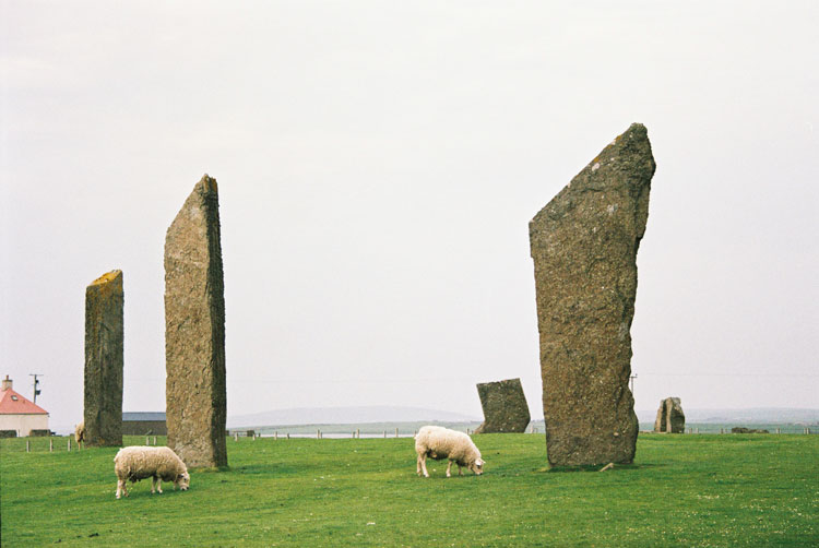 The Standing Stones of Steness neighbors Skara Brae on the island of Orkney in Scotland.