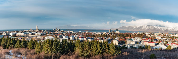 The skyline view of the city of Reykjavik on a sunny day.