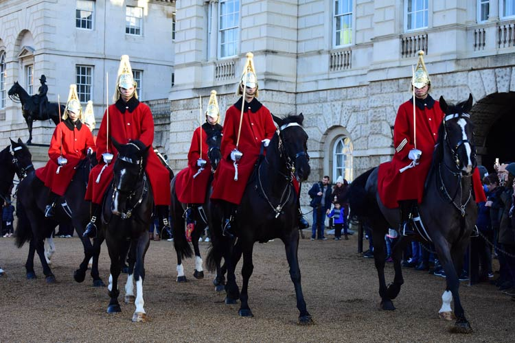 Horse guards leading the famous changing of the guard ceremony.