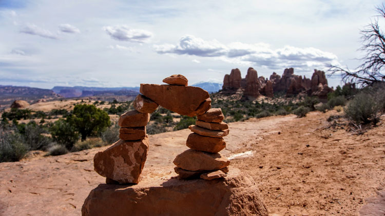 A cairn rock model of the Delicate Arch in Moab.