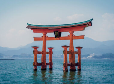 Itsukushima Shrine in the water in Japan
