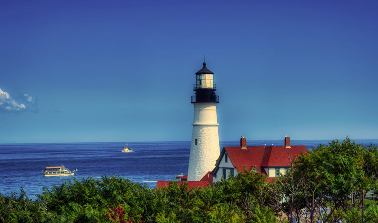 One of the iconic lighthouses along the Atlantic coast in Maine, USA.