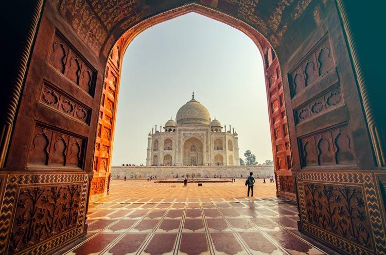 Walking into the courtyard of the Taj  Mahal.