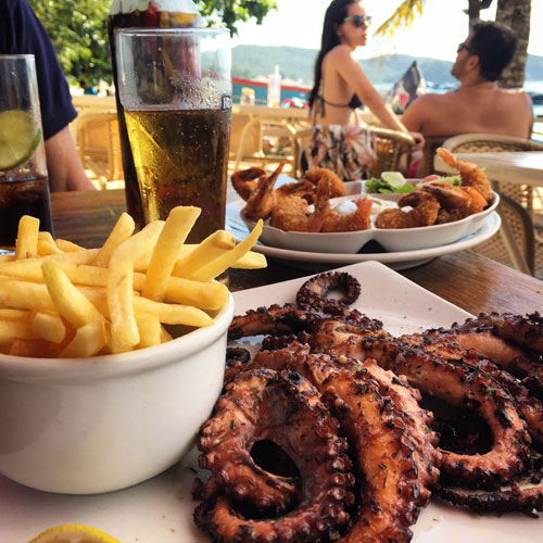 Grilled octopus for lunch in Buzios.