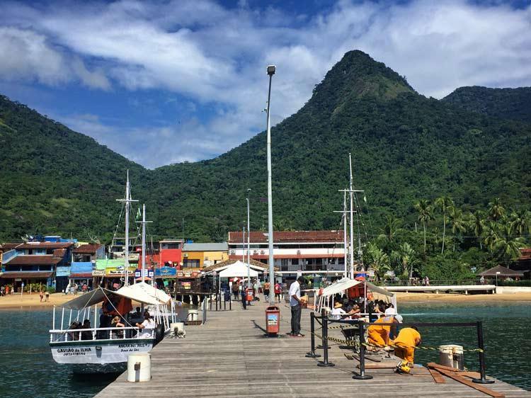 The dock of Vila do Abraao, the only town Ilha Grande.