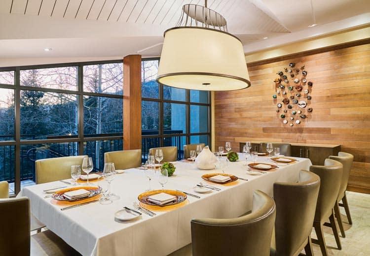 The lit up Gessner dining room.